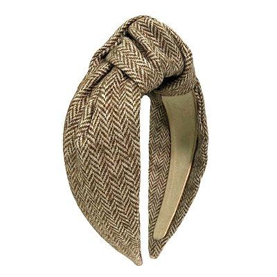 Turbante de Lã Bege e Branco Zig ZAg