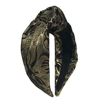 Turbante de Jacquard Dourado e Preto