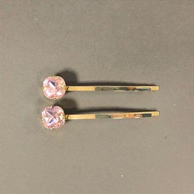 Dupla de Grampos de Cristal Redondo Rosa