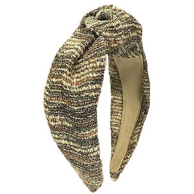 Turbante de Tweed Listrado Areia