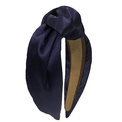 Turbante de Cetim Azul Marinho Liso