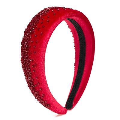 Tiara de Veludo Vermelha Bordada Degradê Vermelha