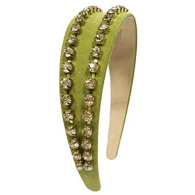 Tiara Verde com Duas Correntes de Cristal