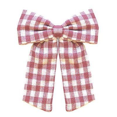 Laço Infantil -  Xadrez Rosa e Branco