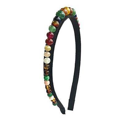 Tiara Fina Preta com Pedras de Vidro Coloridas