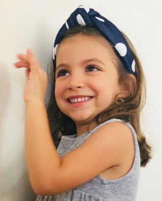 Turbante Infantil - Azul Marinho com Bolas Brancas