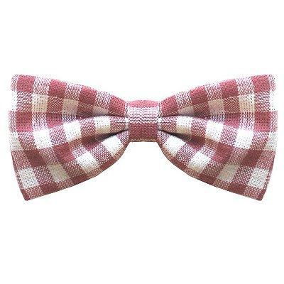 Mini Laço Infantil - Xadrez Rosa e Branco