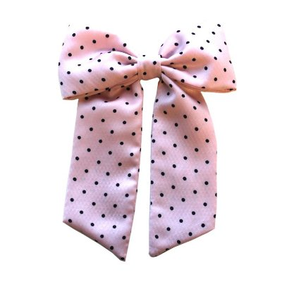 Laço Infantil -   Rosa Claro Com Bolinhas Pretas