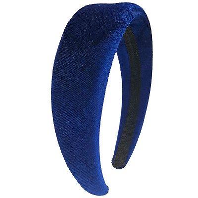 Tiara de Veludo Lisa com Espuma Azul Royal