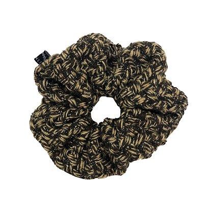 Elástico - Maxi  Scrunchie  de Lã Marrom e Bege - Parceria Pinga e Studio Lorena