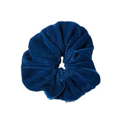 Elástico - Scrunchie de Veludo Azul Petróleo