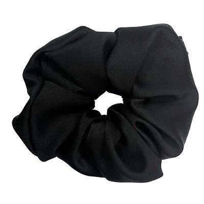 Elástico- Scrunchie de Cetim Preto
