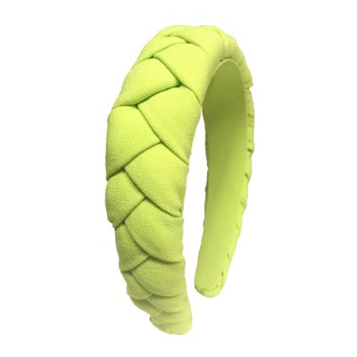 Tiara Alta de Trança de Crepe Verde Neon