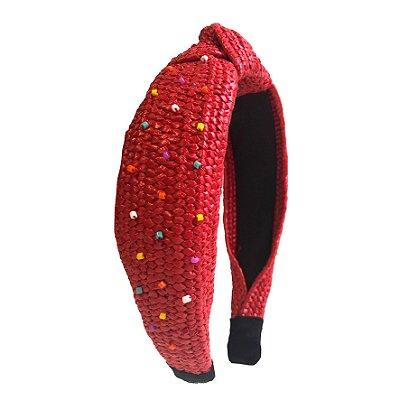 Turbante de Ráfia Vermelho com Miçangas Coloridas