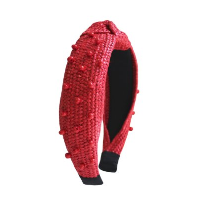 Turbante de Ráfia Vermelho Bordado com Miçangas
