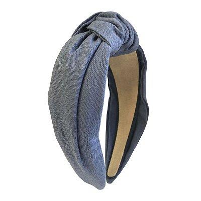 Turbante de Linho Liso Azul Claro