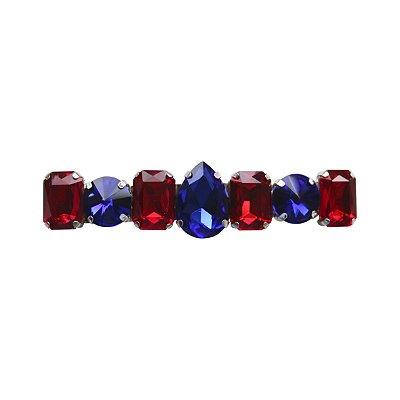 Fivela Cristais Azul Royal e Vermelho