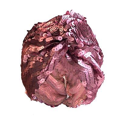 Turbante Fechado de Paetê Rosa