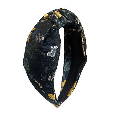 Turbante de Jacquard Escuro com Flores