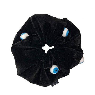 Elástico - Scrunchie de Veludo Preto com Olho Grego