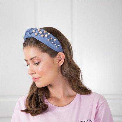 Turbante de Linho Azul com Bolinhas de Madeira
