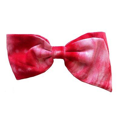 Fivela de Laço Ponta Estampa Tie Dye Rosa