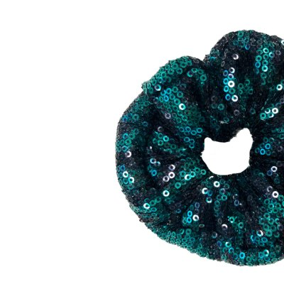 Elástico - Scrunchie de Paetê Animal Print - Onça Verde