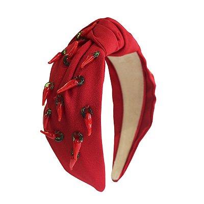 Turbante de Crepe Vermelho com Pimentas