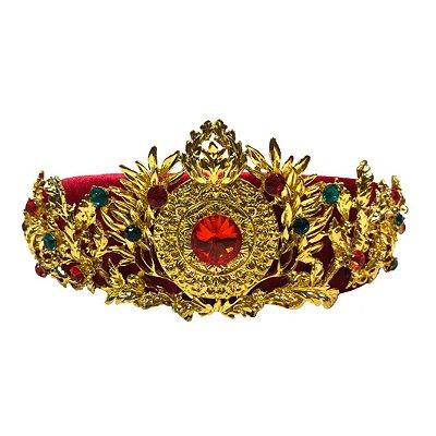 Tiara Veludo Vermelho com Coroa Dourada