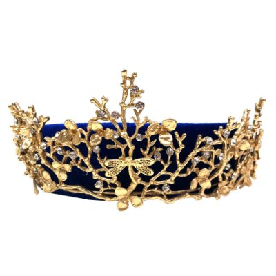 Tiara Veludo Azul com Coroa de Libélulas Dourada