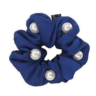 Elástico - Scrunchie Azul Royal com Pérolas
