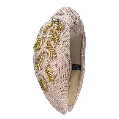 Turbante de Lurex Rosa Light  com Bordado Dourado