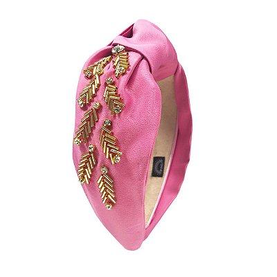Turbante de Cetim Rosa Claro com Bordado Dourado