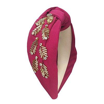 Turbante de Crepe Rosa PInk com Bordado Dourado