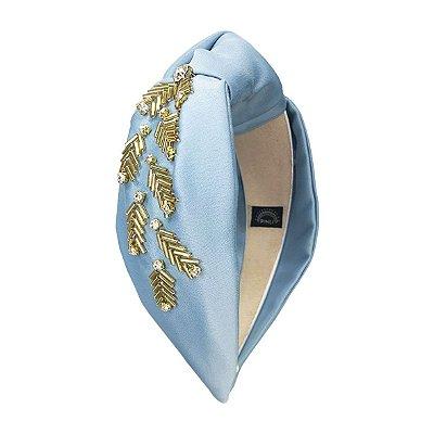 Turbante de Cetim Azul Claro com Bordado Dourado