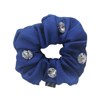 Elástico - Scrunchie Azul Royal com Cristais