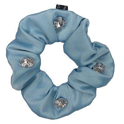 Elástico - Scrunchie Azul Claro com Cristais