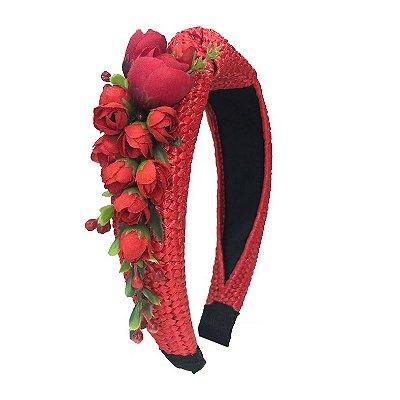 Turbante de Ráfia Vermelho com Flores