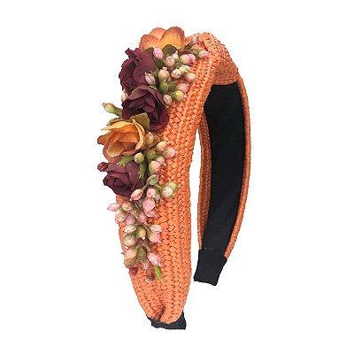 Turbante de Ráfia Laranja com Flores