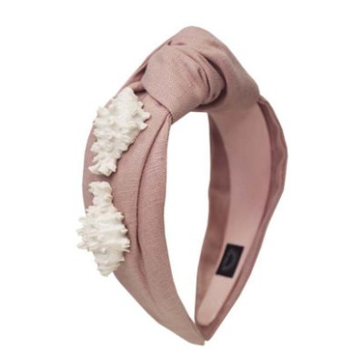 Turbante de Linho Rosa com Conchas de Cerâmica