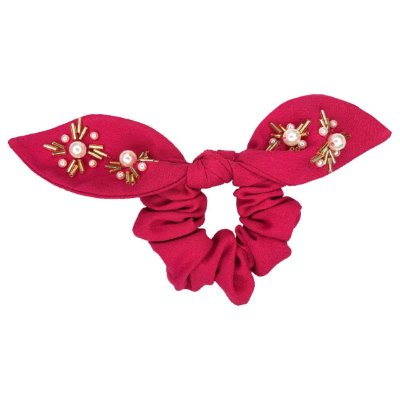 Elástico Com Mini Laço de Crepe Rosa Bordado