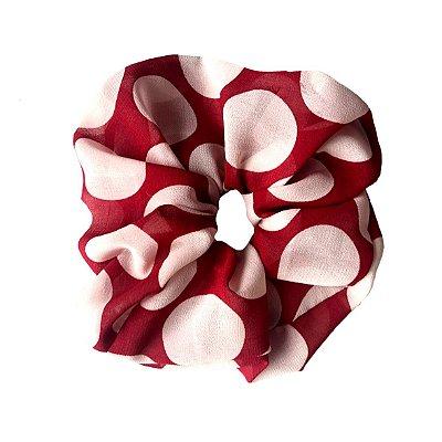 Elástico - Scrunchie de Crepe Transparente Branco e Vermelho