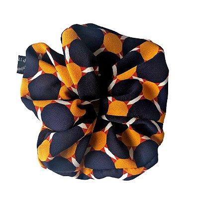Scrunchie - Elástico Estampado Amarelo e Marinho