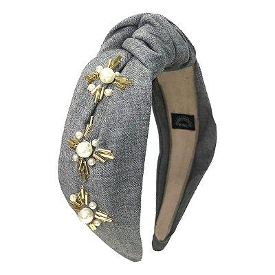 Turbante de Lã Cinza Claro Bordado