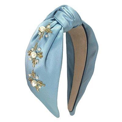 Turbante Azul Claro Cinderela Bordado