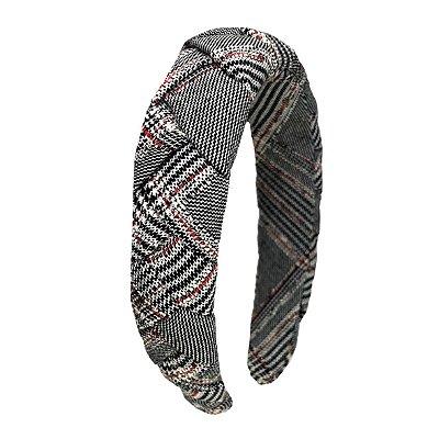Tiara de Trança de Tweed Vermelho, Branco e Preto