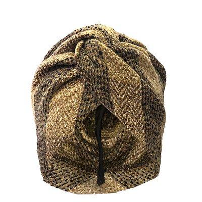 Turbante Fechado de Lã Maxi Xadrez Bege