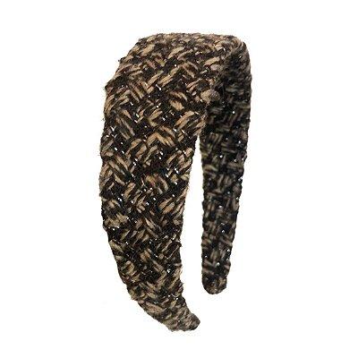 Tiara Clássica de Maxi Lã Bege e Marrom