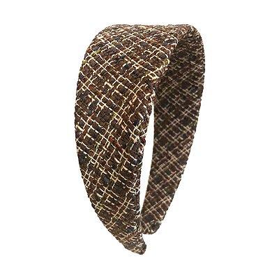Tiara Clássica de Lã Xadrez Bege e Marrom