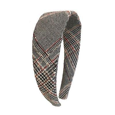 Tiara Flat Tweed Vermelha, Preta e Branca